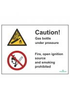 Caution! Gas bottle/Fire, open ignition source and smoking prohibited