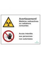 Avertissement! Matières radioactives ou radiations ionisantes/Accès interdits aux personnes non autorisées