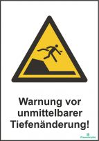 Warnung vor unmittelbarer tiefenänderung