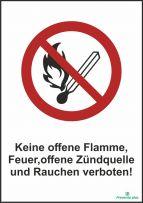 Keine offene Flamme, Feuer, offene Zündquelle und Rauchen verboten