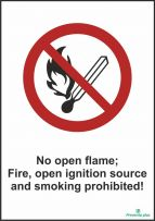 No open flame; Fire, open ignition source and smoking prohibited